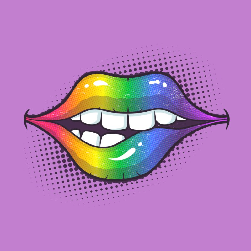 Rainbow Lips Men's T-Shirt by zoljo's Artist Shop