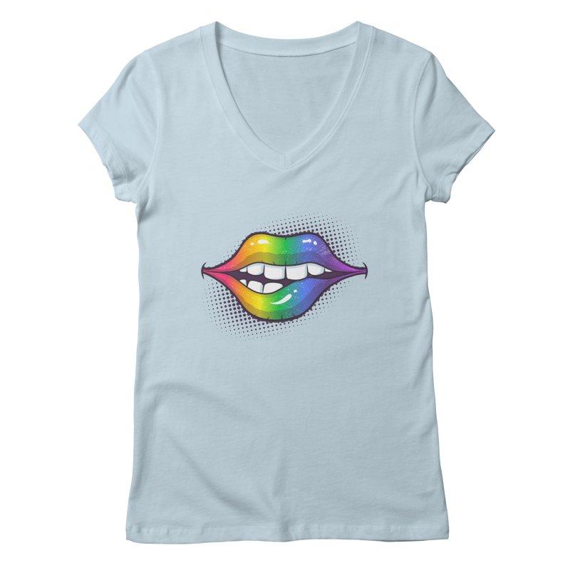 Rainbow Lips Women's V-Neck by zoljo's Artist Shop