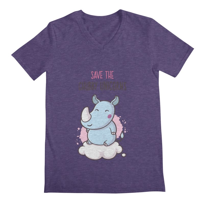 Save The Chubby Unicorns Men's Regular V-Neck by zoljo's Artist Shop