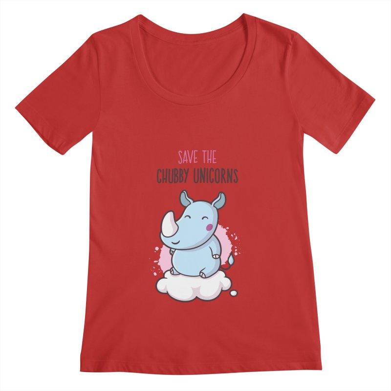 Save The Chubby Unicorns Women's Regular Scoop Neck by zoljo's Artist Shop