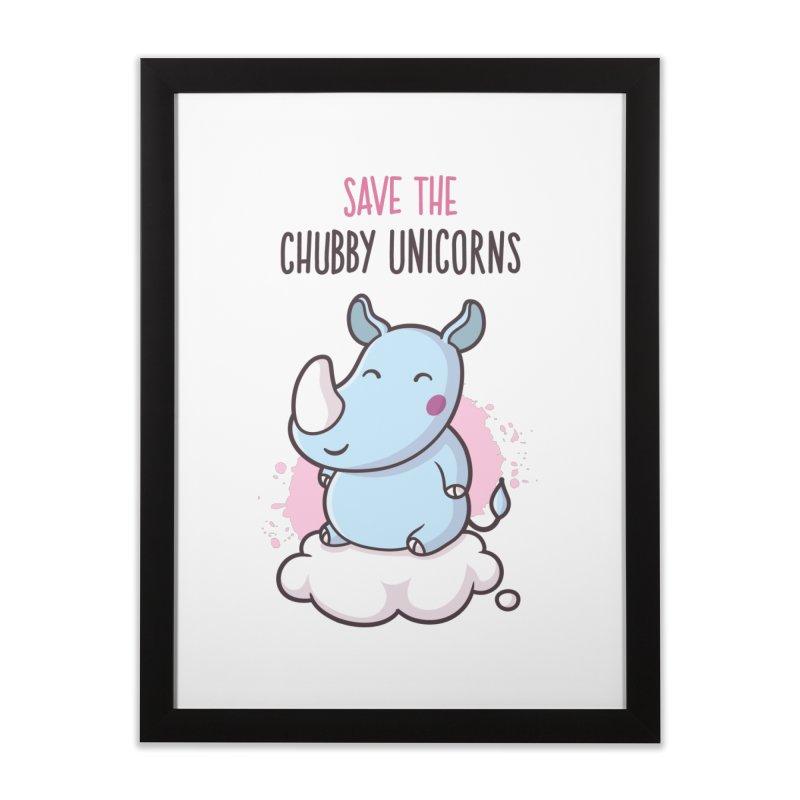 Save The Chubby Unicorns Home Framed Fine Art Print by zoljo's Artist Shop