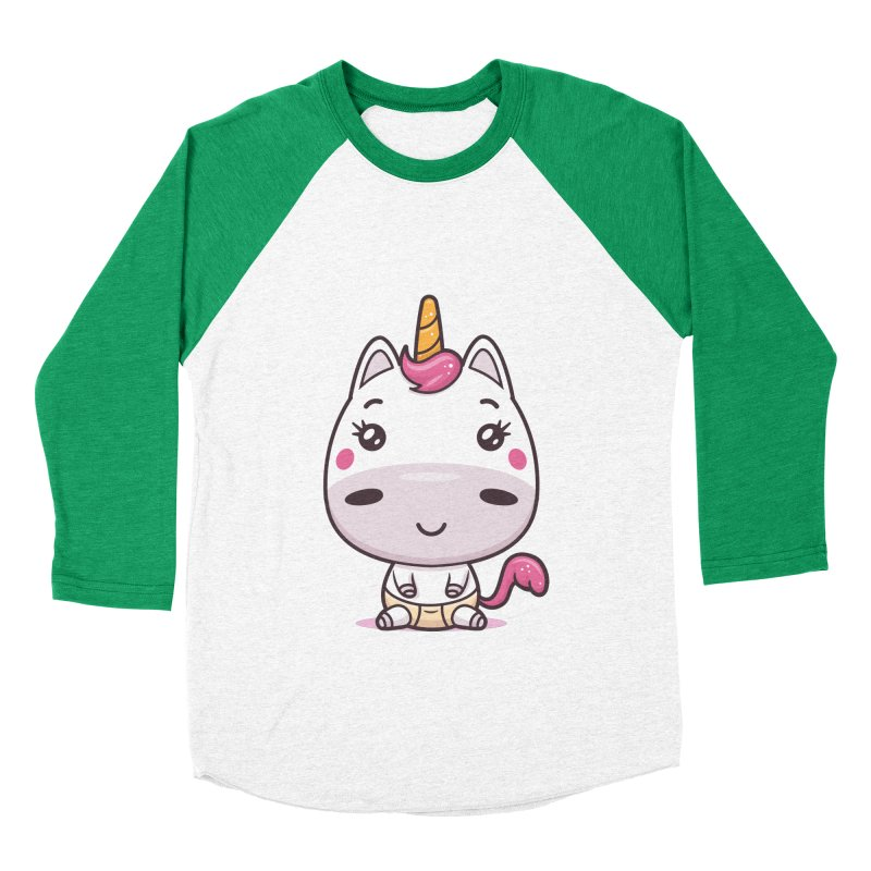 Baby Unicorn Men's Baseball Triblend Longsleeve T-Shirt by zoljo's Artist Shop
