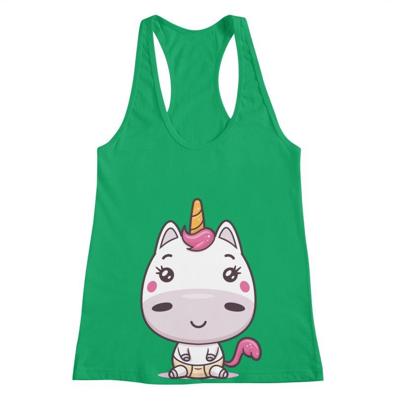 Baby Unicorn Women's Racerback Tank by zoljo's Artist Shop