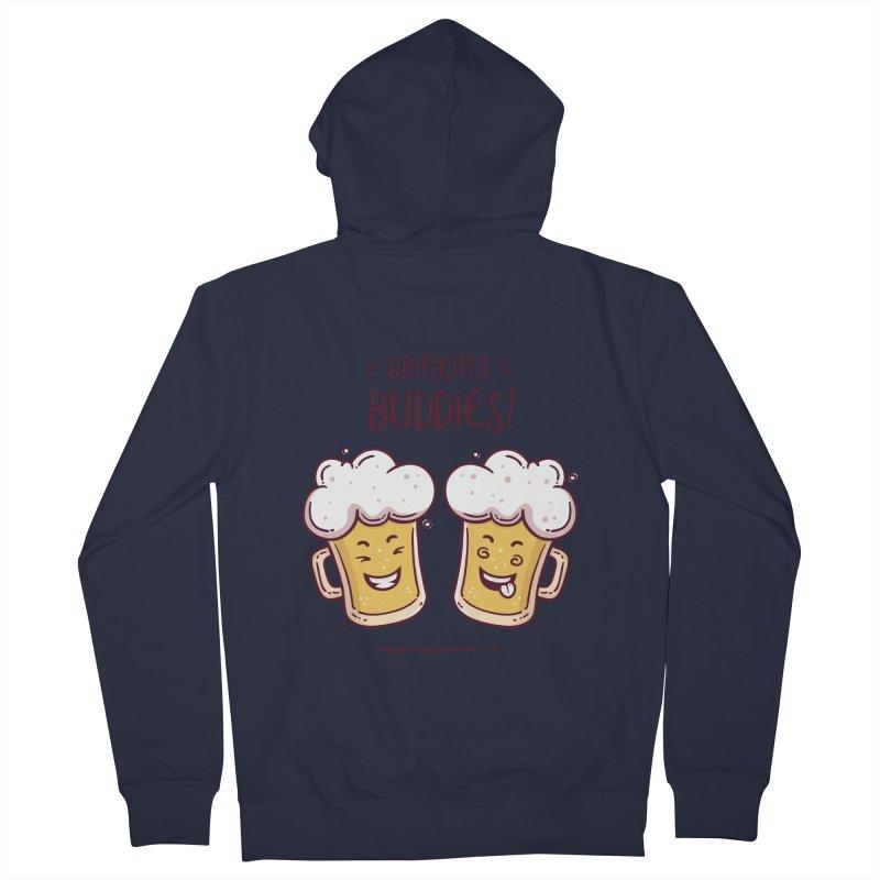 Drinking Buddies Men's French Terry Zip-Up Hoody by zoljo's Artist Shop