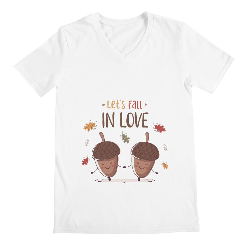 Let's Fall In Love Men's Regular V-Neck by zoljo's Artist Shop