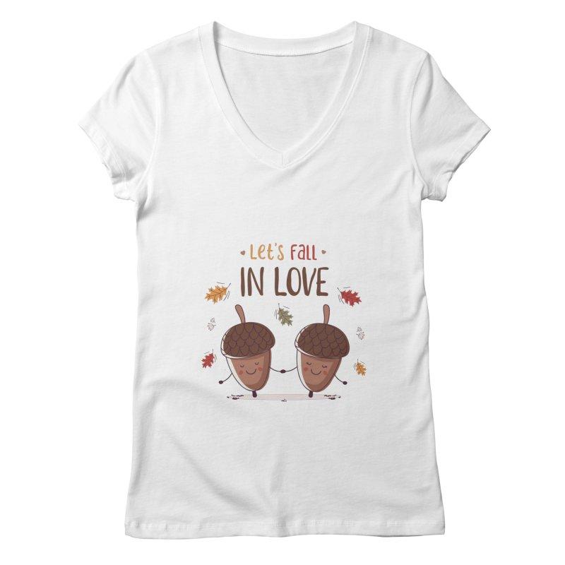 Let's Fall In Love Women's Regular V-Neck by zoljo's Artist Shop