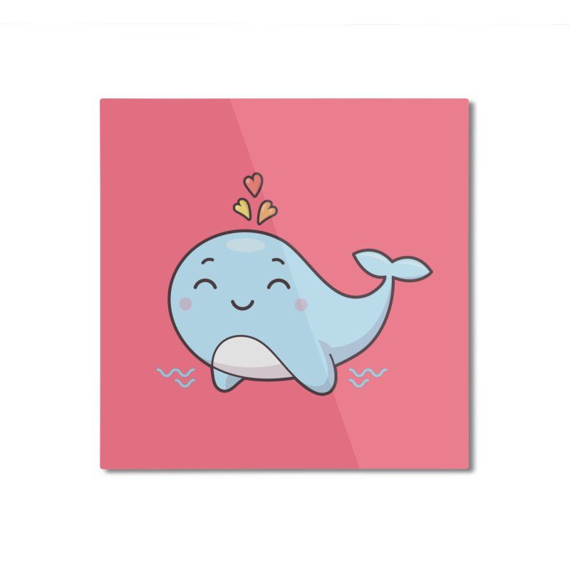 Cute Whale Home Mounted Aluminum Print by zoljo's Artist Shop