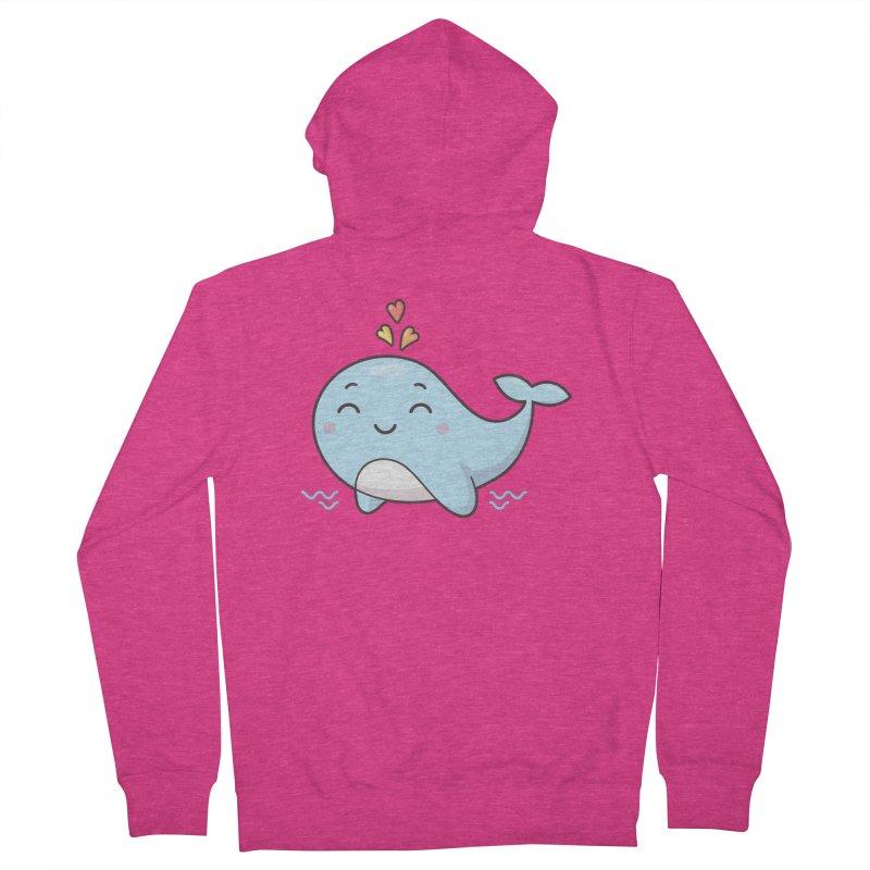 Cute Whale Women's French Terry Zip-Up Hoody by zoljo's Artist Shop