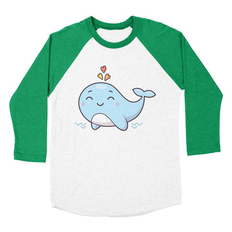 Cute Whale Men's Baseball Triblend Longsleeve T-Shirt by zoljo's Artist Shop