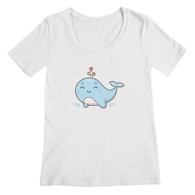 Cute Whale Women's Regular Scoop Neck by zoljo's Artist Shop