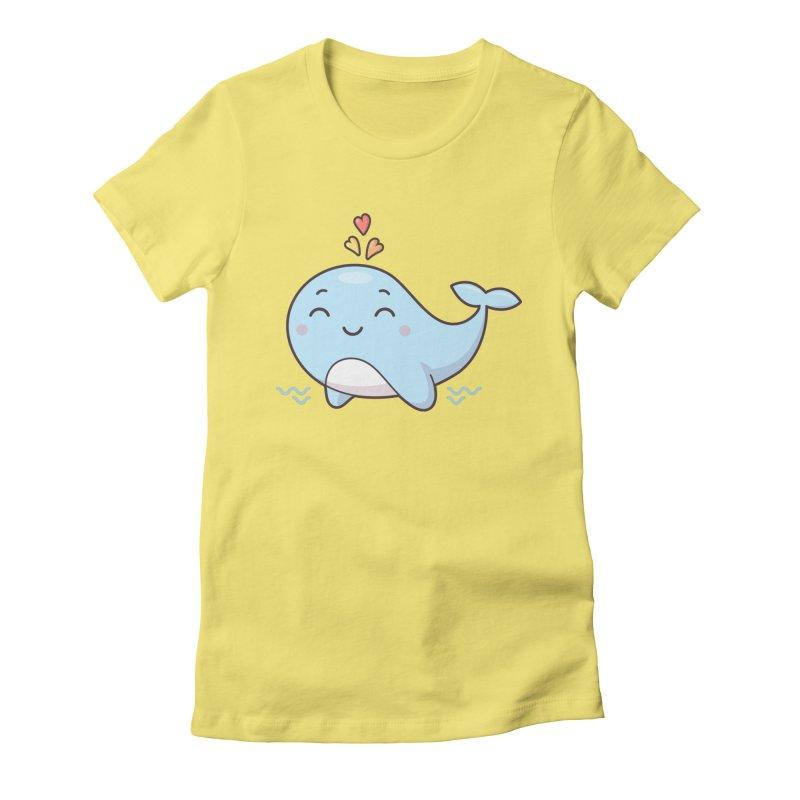 Cute Whale Women's Fitted T-Shirt by zoljo's Artist Shop