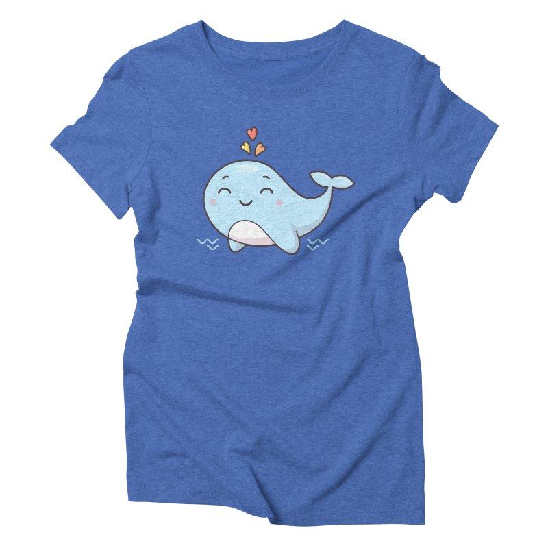 Cute Whale Women's Triblend T-Shirt by zoljo's Artist Shop