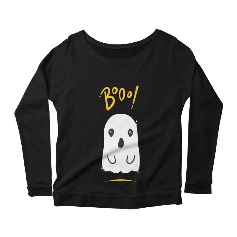 Cute Haloween Ghost Women's Scoop Neck Longsleeve T-Shirt by zoljo's Artist Shop