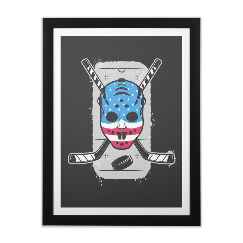 American Ice Hockey - USA Home Framed Fine Art Print by zoljo's Artist Shop