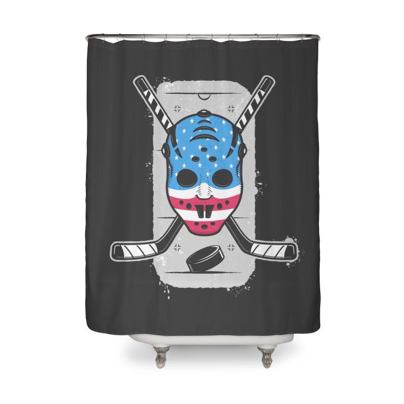 American Ice Hockey - USA Home Shower Curtain by zoljo's Artist Shop