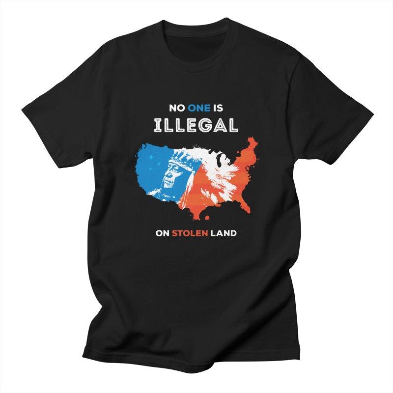 No One Is Illegal on Stolen Land Men's Regular T-Shirt by zoljo's Artist Shop