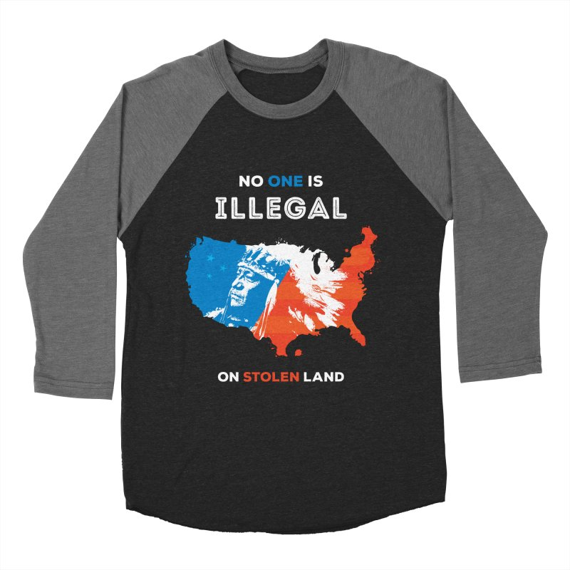 No One Is Illegal on Stolen Land Men's Baseball Triblend Longsleeve T-Shirt by zoljo's Artist Shop