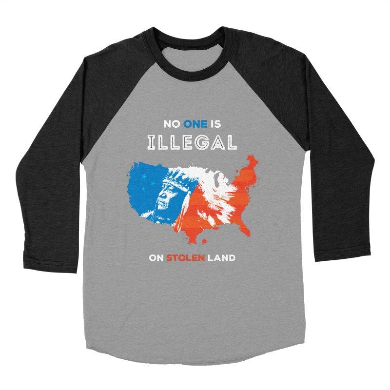 No One Is Illegal on Stolen Land Men's Baseball Triblend Longsleeve T-Shirt by zoljo's Artist Shop