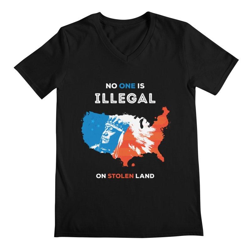 No One Is Illegal on Stolen Land Men's Regular V-Neck by zoljo's Artist Shop