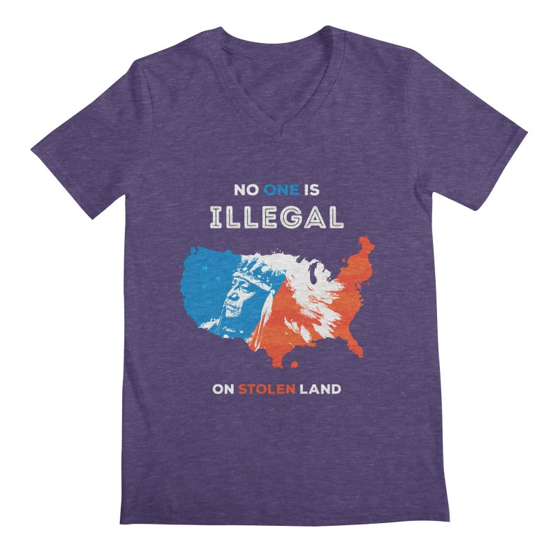 No One Is Illegal on Stolen Land Men's Regular V-Neck by zoljo's Artist Shop