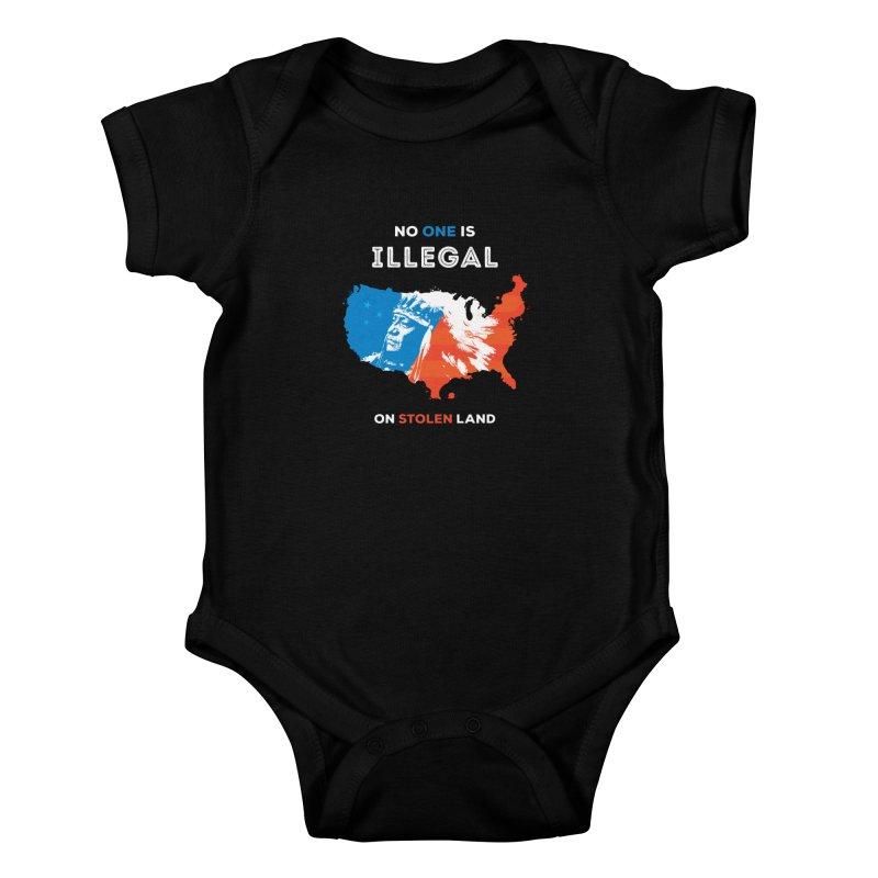 No One Is Illegal on Stolen Land Kids Baby Bodysuit by zoljo's Artist Shop