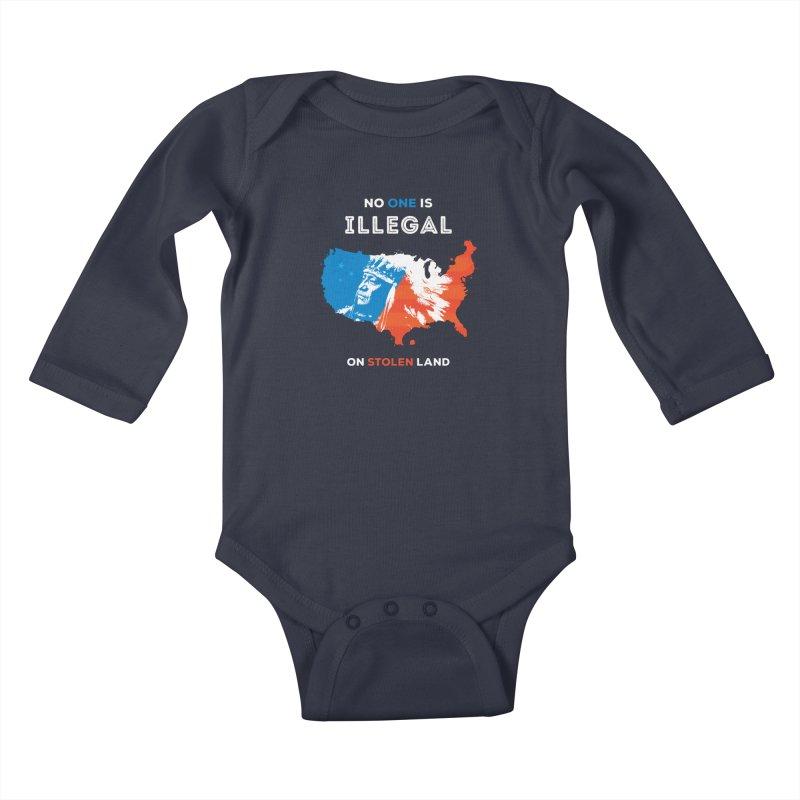 No One Is Illegal on Stolen Land Kids Baby Longsleeve Bodysuit by zoljo's Artist Shop