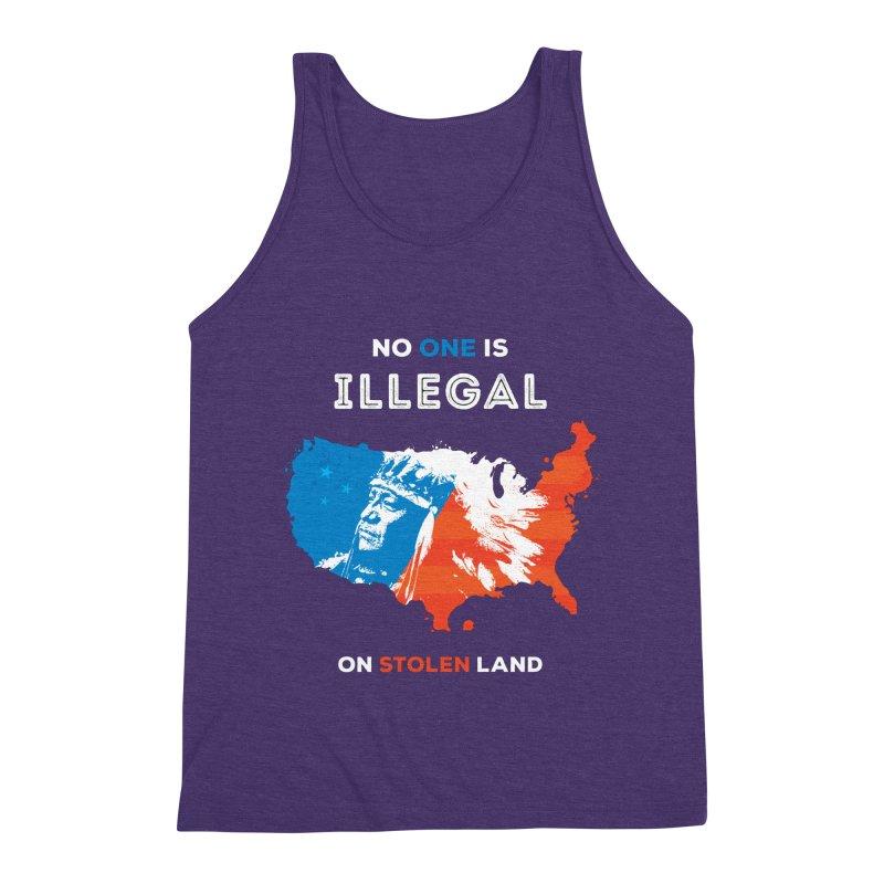 No One Is Illegal on Stolen Land Men's Triblend Tank by zoljo's Artist Shop