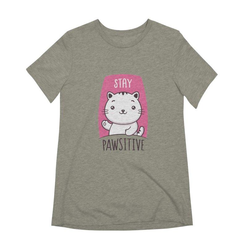Stay Pawsitive Women's Extra Soft T-Shirt by zoljo's Artist Shop