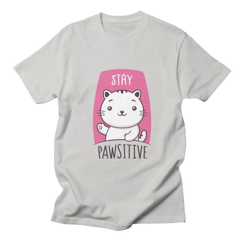 Stay Pawsitive Men's Regular T-Shirt by zoljo's Artist Shop