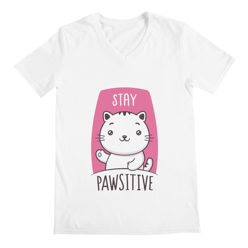 Stay Pawsitive Men's Regular V-Neck by zoljo's Artist Shop