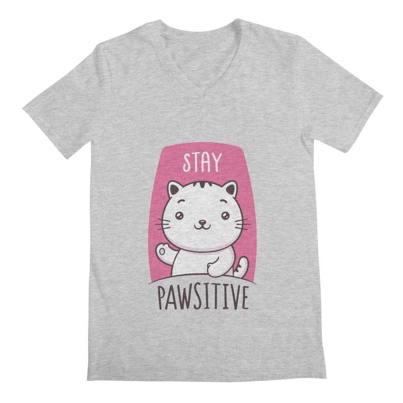Stay Pawsitive Men's Regular V-Neck by zoljo's Artist Shop