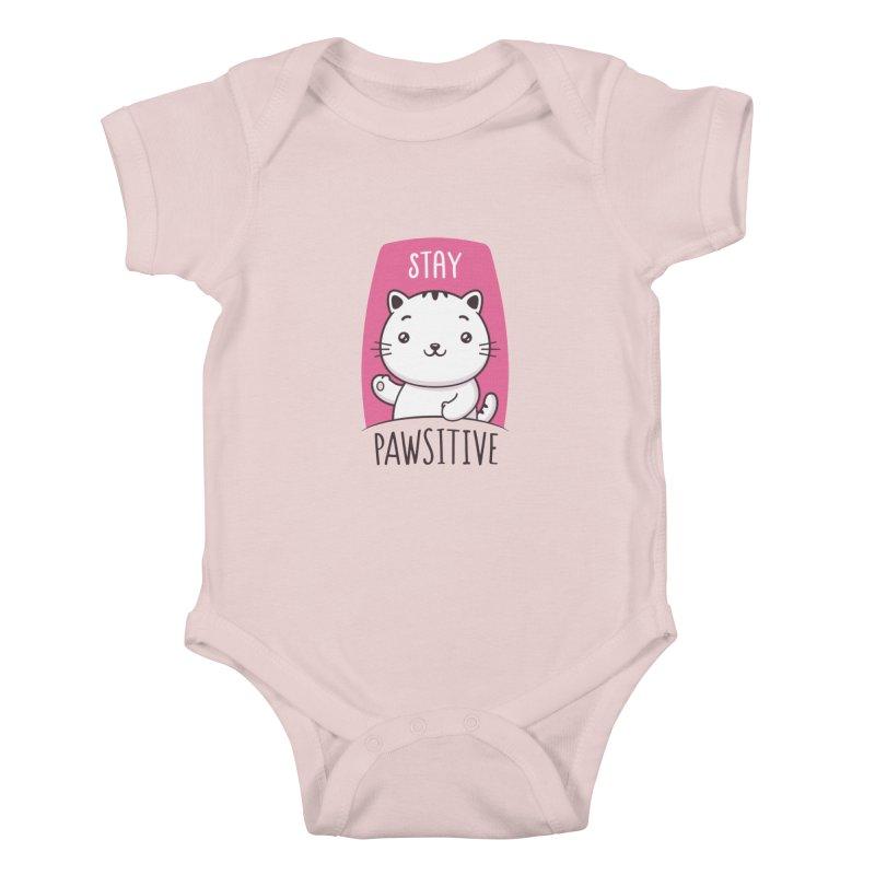 Stay Pawsitive Kids Baby Bodysuit by zoljo's Artist Shop