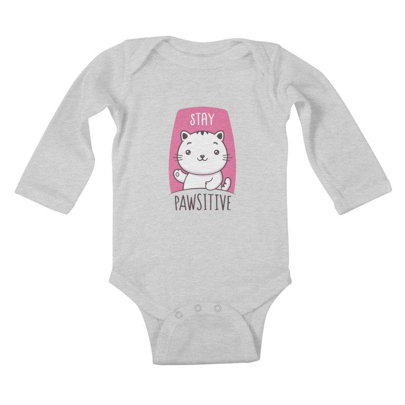 Stay Pawsitive Kids Baby Longsleeve Bodysuit by zoljo's Artist Shop