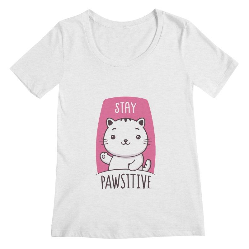 Stay Pawsitive Women's Regular Scoop Neck by zoljo's Artist Shop