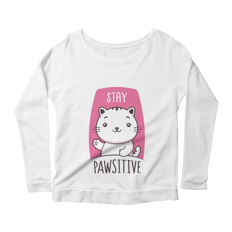 Stay Pawsitive Women's Scoop Neck Longsleeve T-Shirt by zoljo's Artist Shop