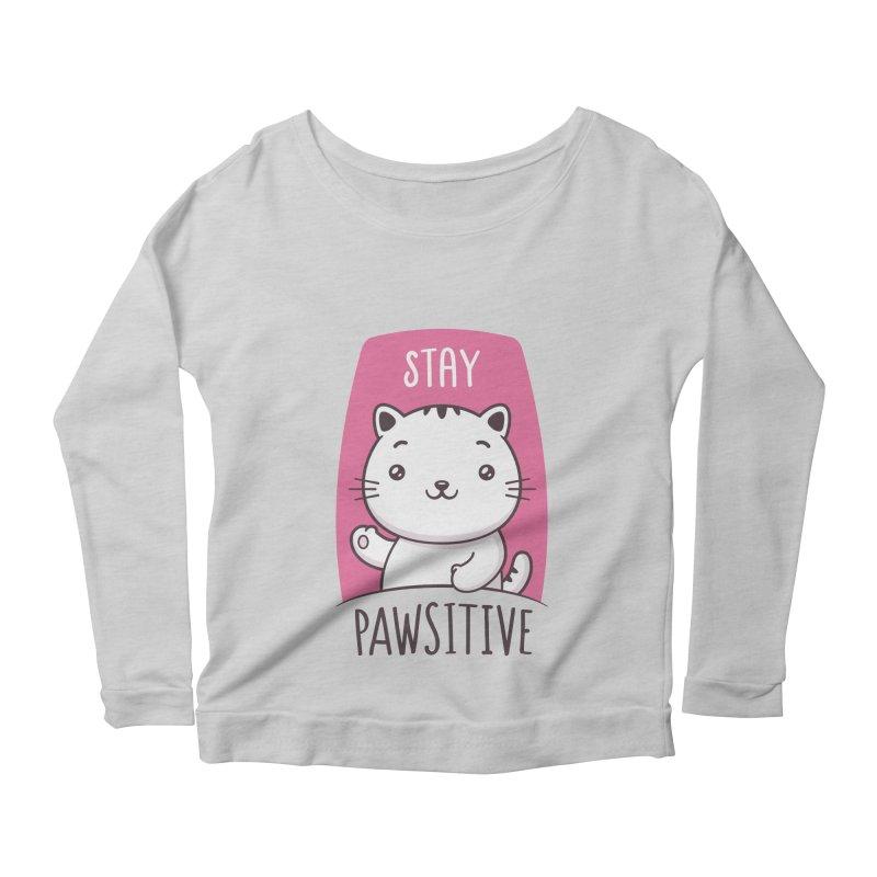 Stay Pawsitive Women's Scoop Neck Longsleeve T-Shirt by zoljo's Artist Shop