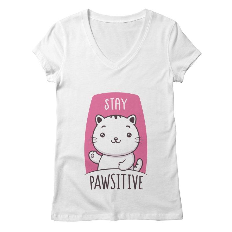 Stay Pawsitive Women's Regular V-Neck by zoljo's Artist Shop