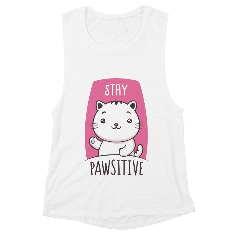 Stay Pawsitive Women's Muscle Tank by zoljo's Artist Shop