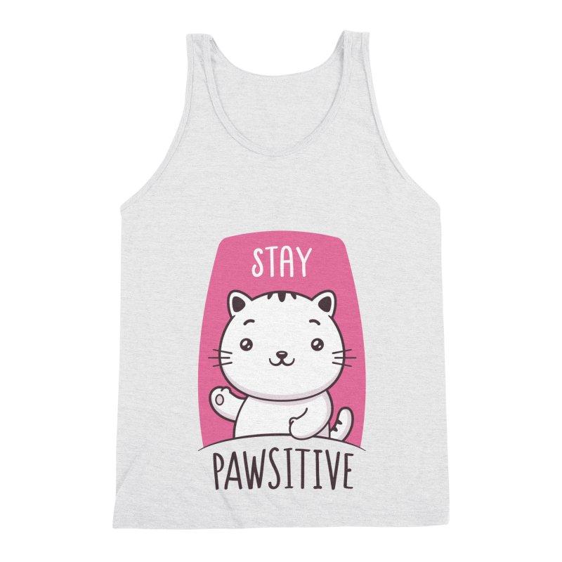 Stay Pawsitive Men's Triblend Tank by zoljo's Artist Shop