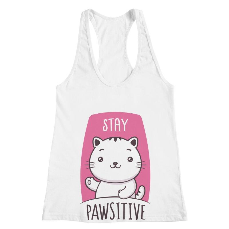 Stay Pawsitive Women's Racerback Tank by zoljo's Artist Shop