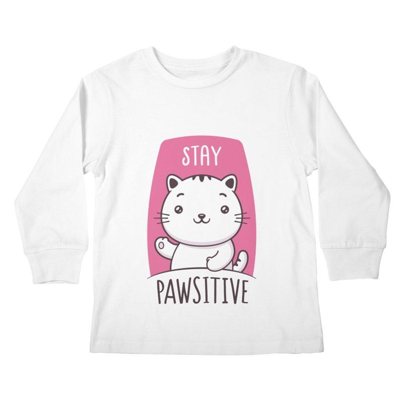 Stay Pawsitive Kids Longsleeve T-Shirt by zoljo's Artist Shop