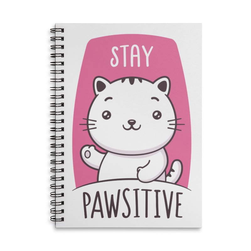 Stay Pawsitive Accessories Lined Spiral Notebook by zoljo's Artist Shop