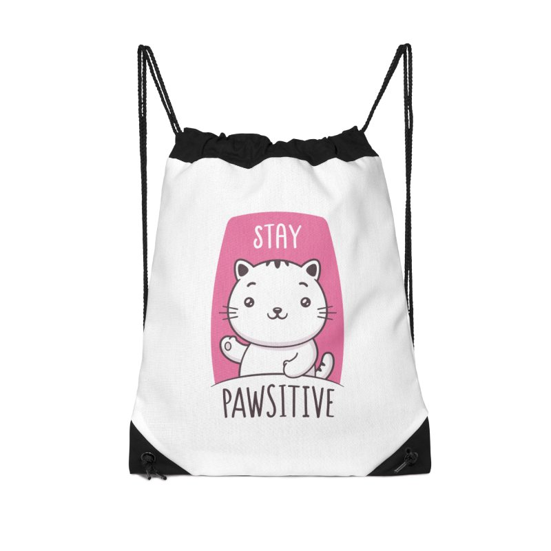 Stay Pawsitive Accessories Drawstring Bag Bag by zoljo's Artist Shop