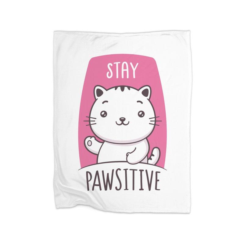 Stay Pawsitive Home Fleece Blanket Blanket by zoljo's Artist Shop