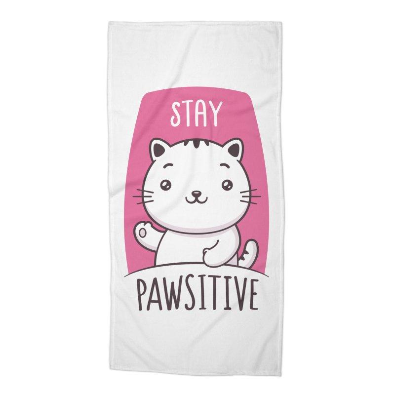 Stay Pawsitive Accessories Beach Towel by zoljo's Artist Shop