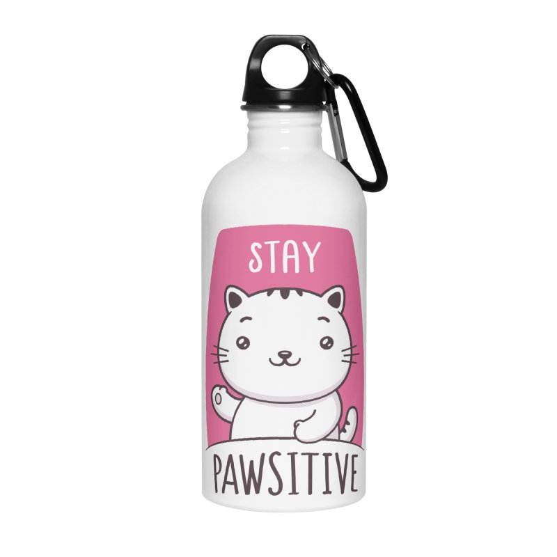 Stay Pawsitive Accessories Water Bottle by zoljo's Artist Shop