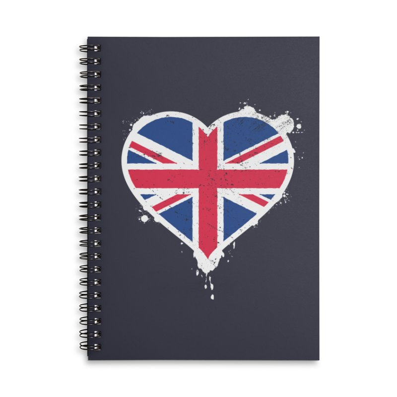 Union Jack Flag Heart Accessories Lined Spiral Notebook by zoljo's Artist Shop