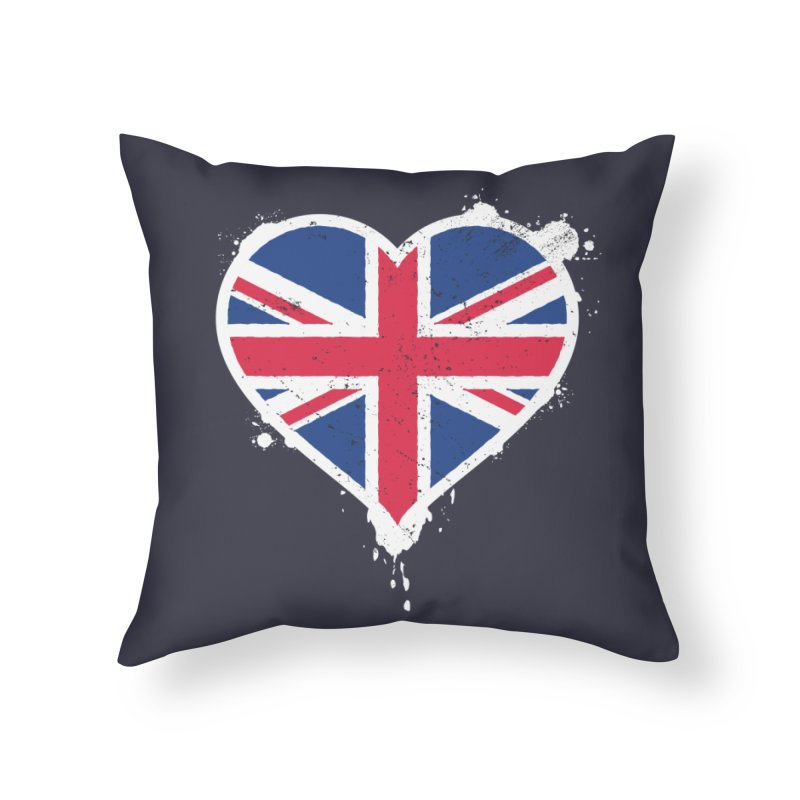Union Jack Flag Heart Home Throw Pillow by zoljo's Artist Shop