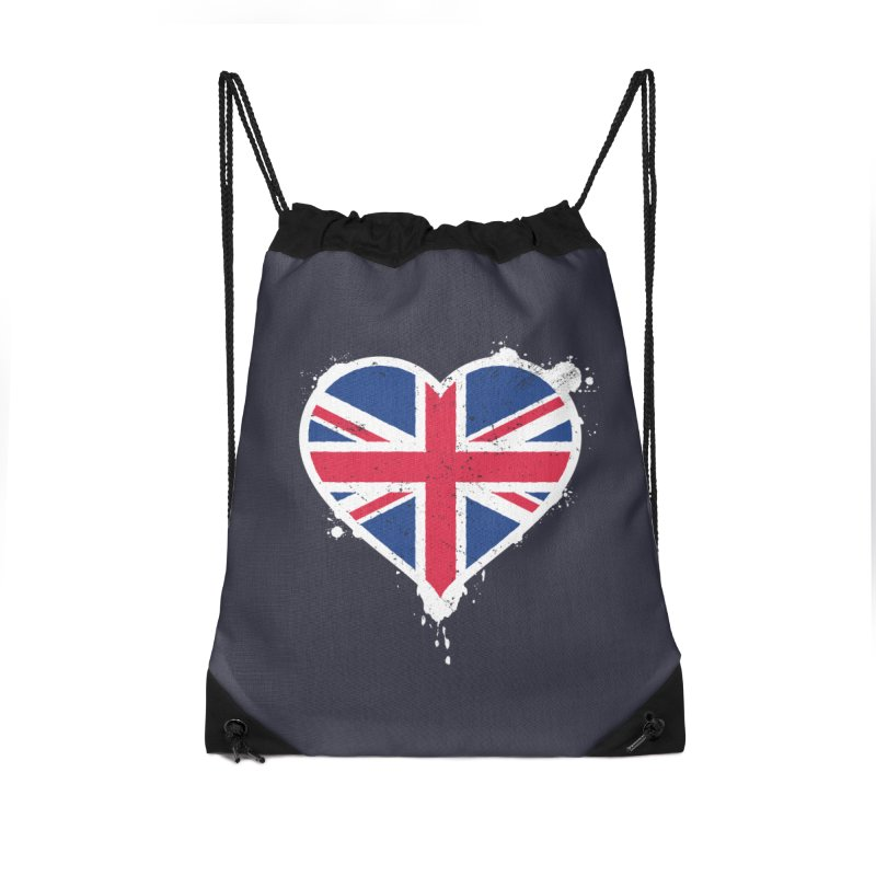 Union Jack Flag Heart Accessories Drawstring Bag Bag by zoljo's Artist Shop