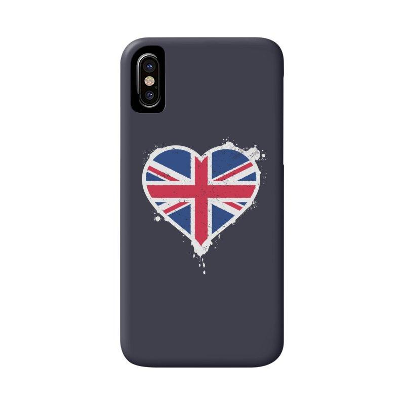 Union Jack Flag Heart Accessories Phone Case by zoljo's Artist Shop